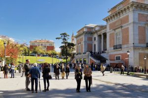 Madrid, Spain - October 27, 2015: A lot of people on the square in front of the National Prado Museum - one of the largest and most important museums of European